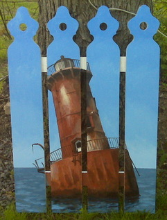 Sharp's Island Light Then and Now fence painting