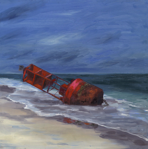 Beached Buoy oil painting