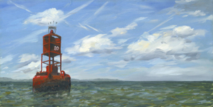 Buoy 10 oil painting