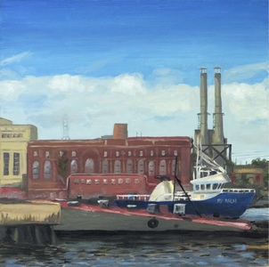 Savannah Dock with Brick Building oil painting