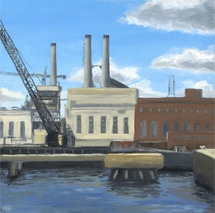 Savannah Dock with Smokestacks oil painting