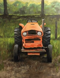 Frowning Tractor oil painting