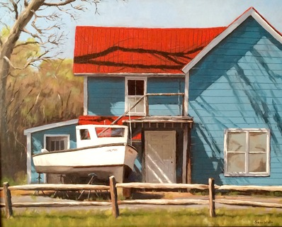 Red Roof oil painting