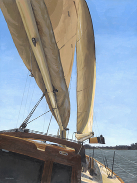Upsail Windsong oil painting