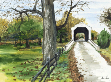 Covered Bridge watercolor